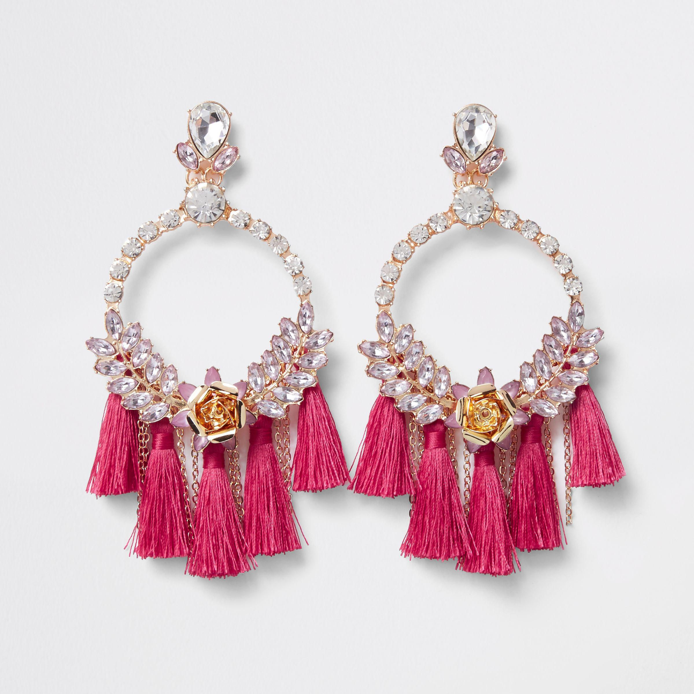 60c406a0b16db River Island Pink Jewel Hoop Tassel Drop Earrings