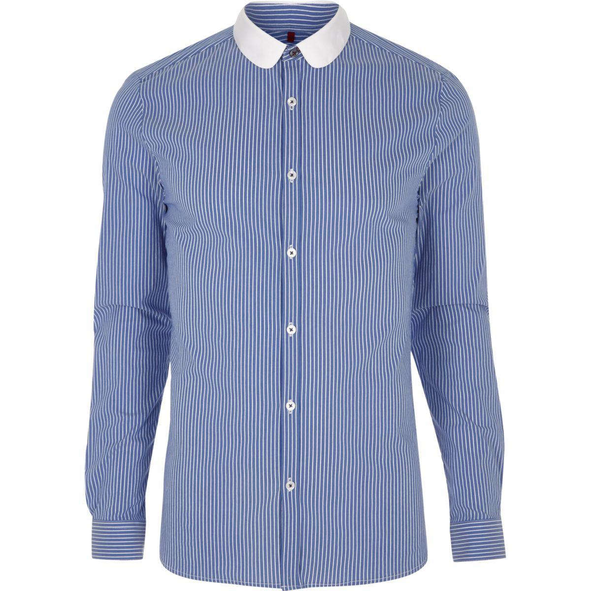 Mens Blue stripe collar bar slim fit shirt River Island Free Shipping For Nice Cheap Sale Supply Cheap Sale Big Discount The Cheapest WHiD33Zdec