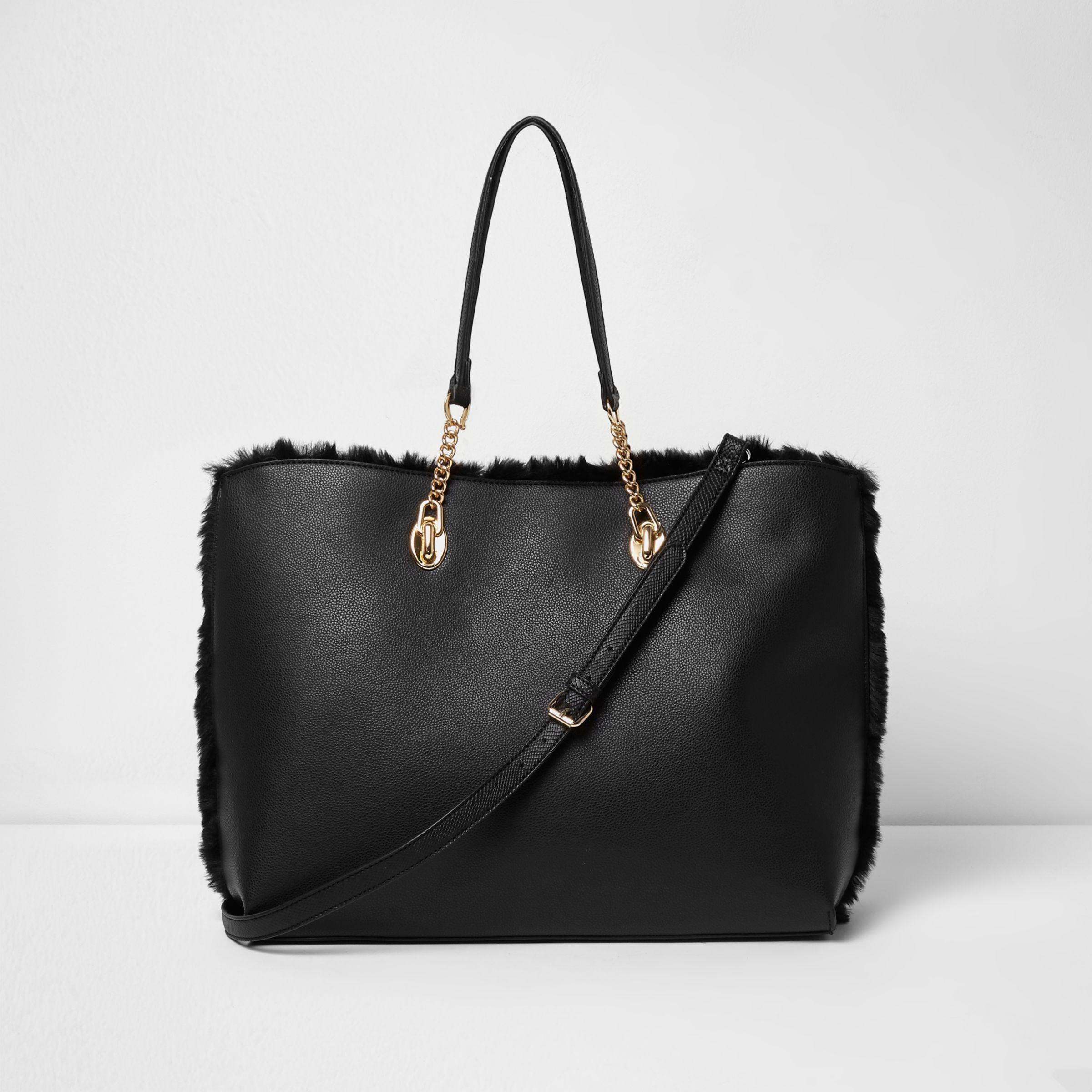 1d61e2a1b2 Lyst - River Island Black Faux Fur Front Tassel Large Tote Bag in Black