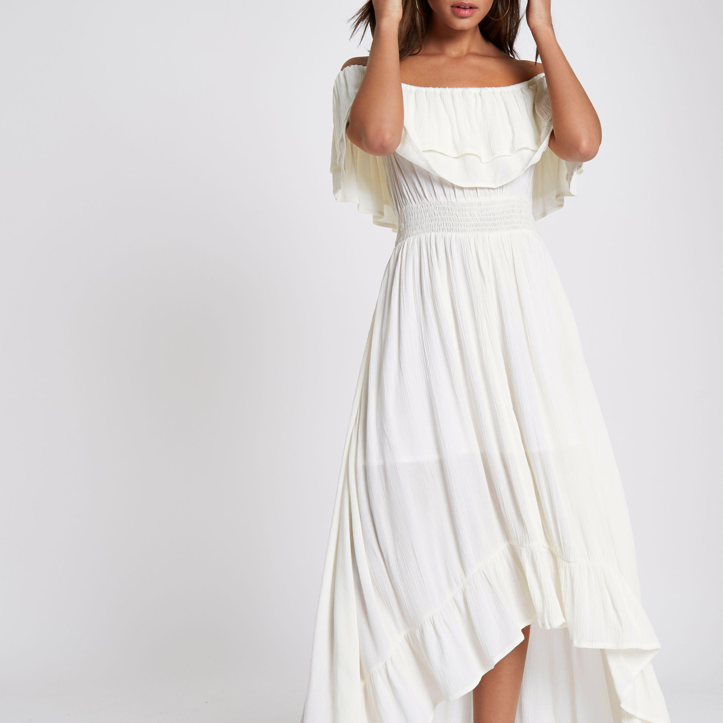 get new website for discount outlet for sale River Island Synthetic Cream Frill Bardot Maxi Dress in White - Lyst