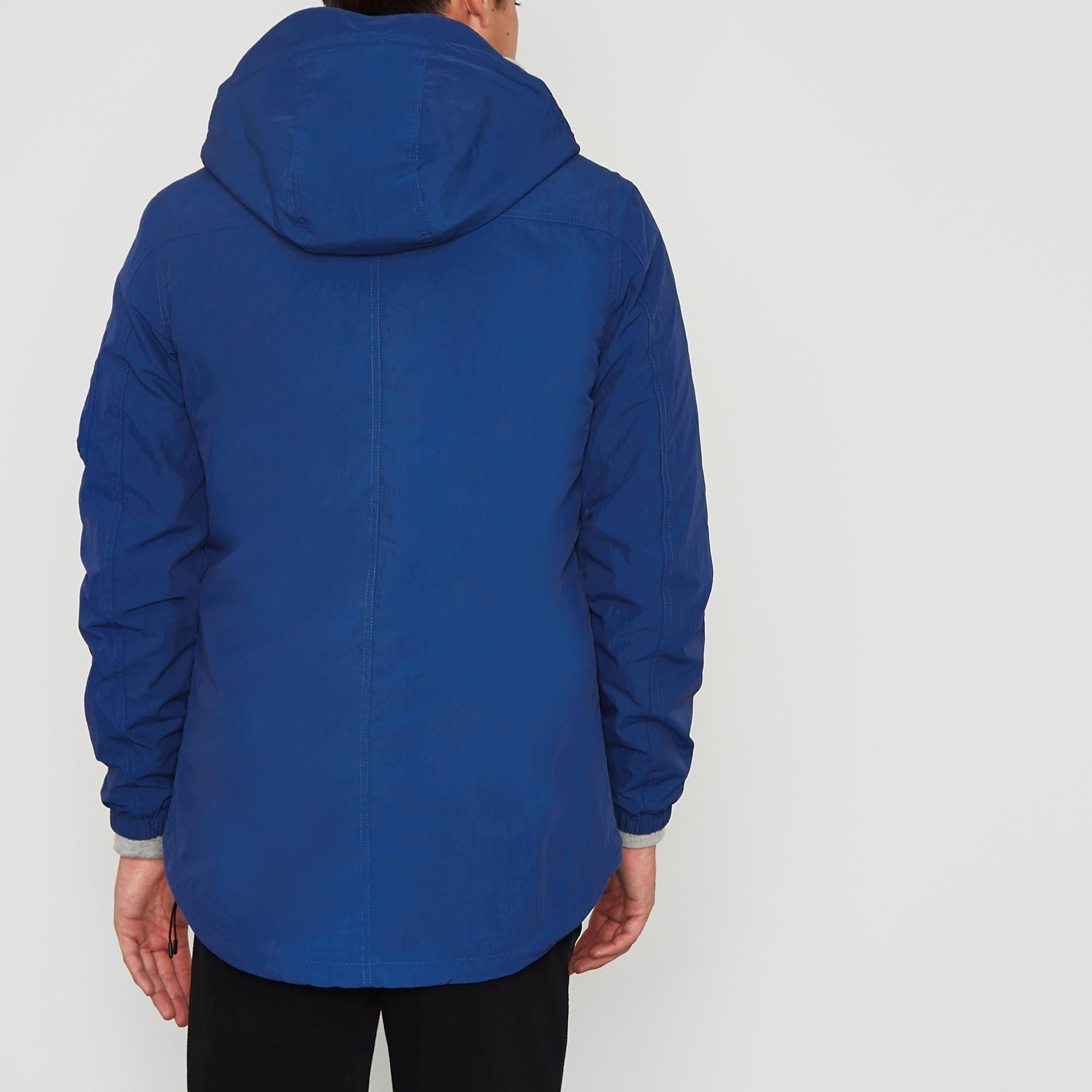 River Island Synthetic Blue Hooded Lightweight Jacket for Men