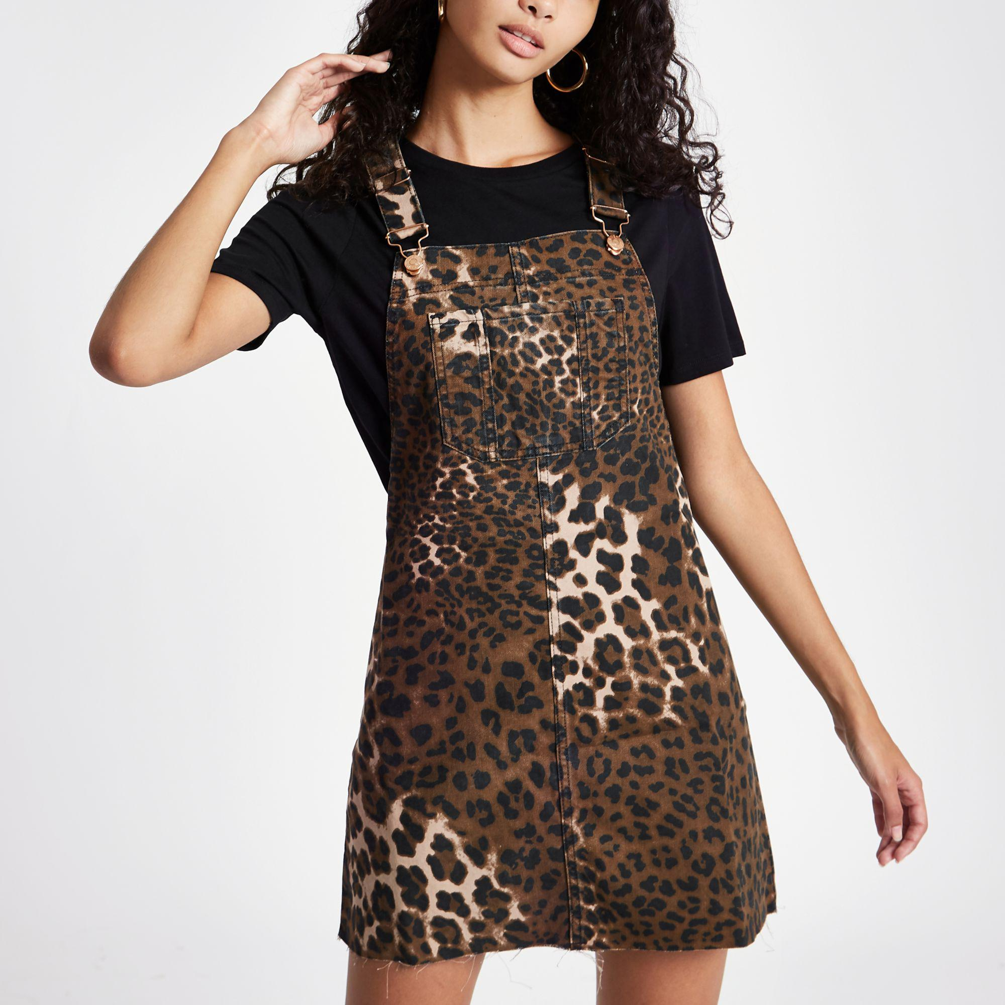 official luxuriant in design double coupon River Island - Black Denim Leopard Print Pinafore Overall Dress - Lyst
