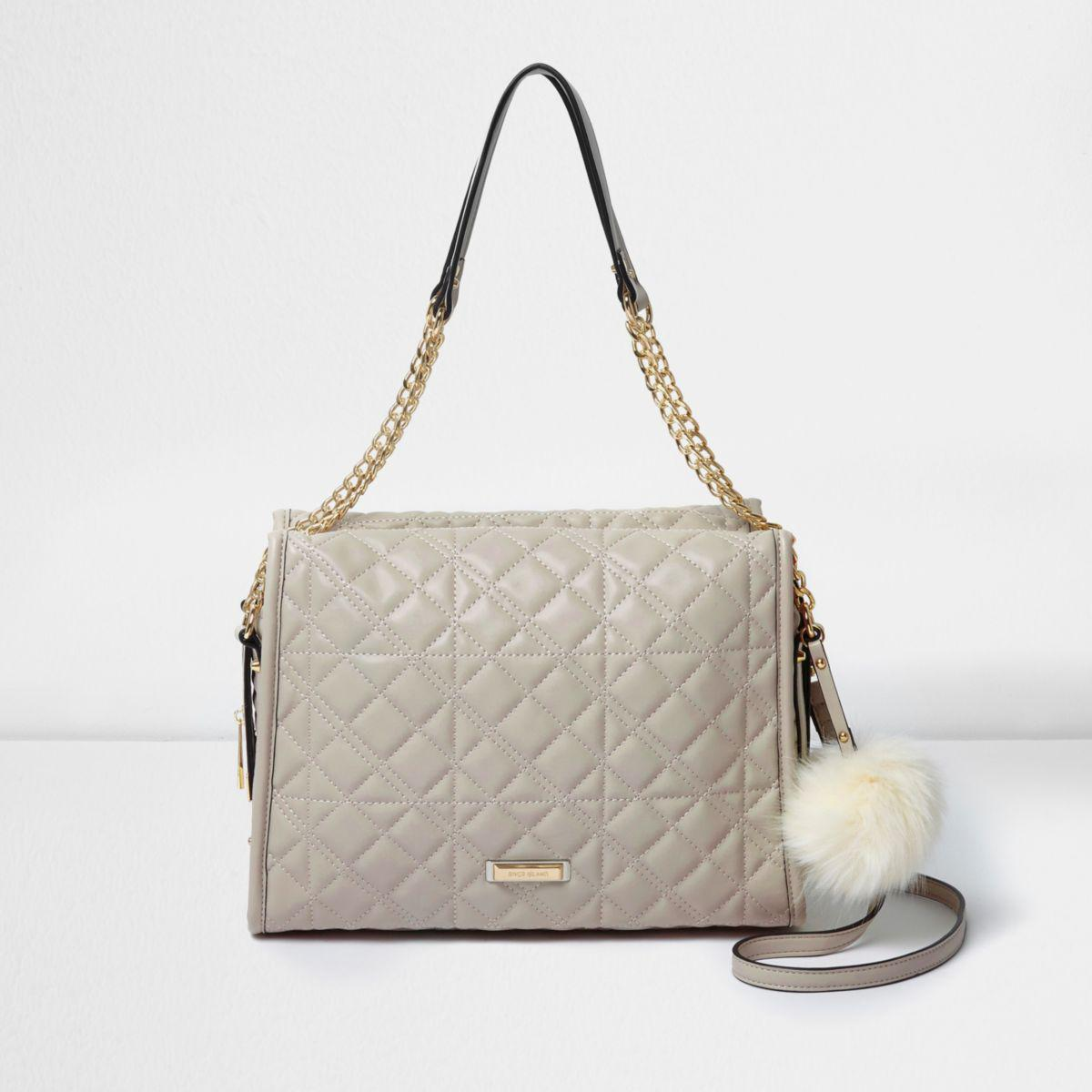 River Island Grey Quilted Pom Pom Chain Handle Tote Bag in Grey