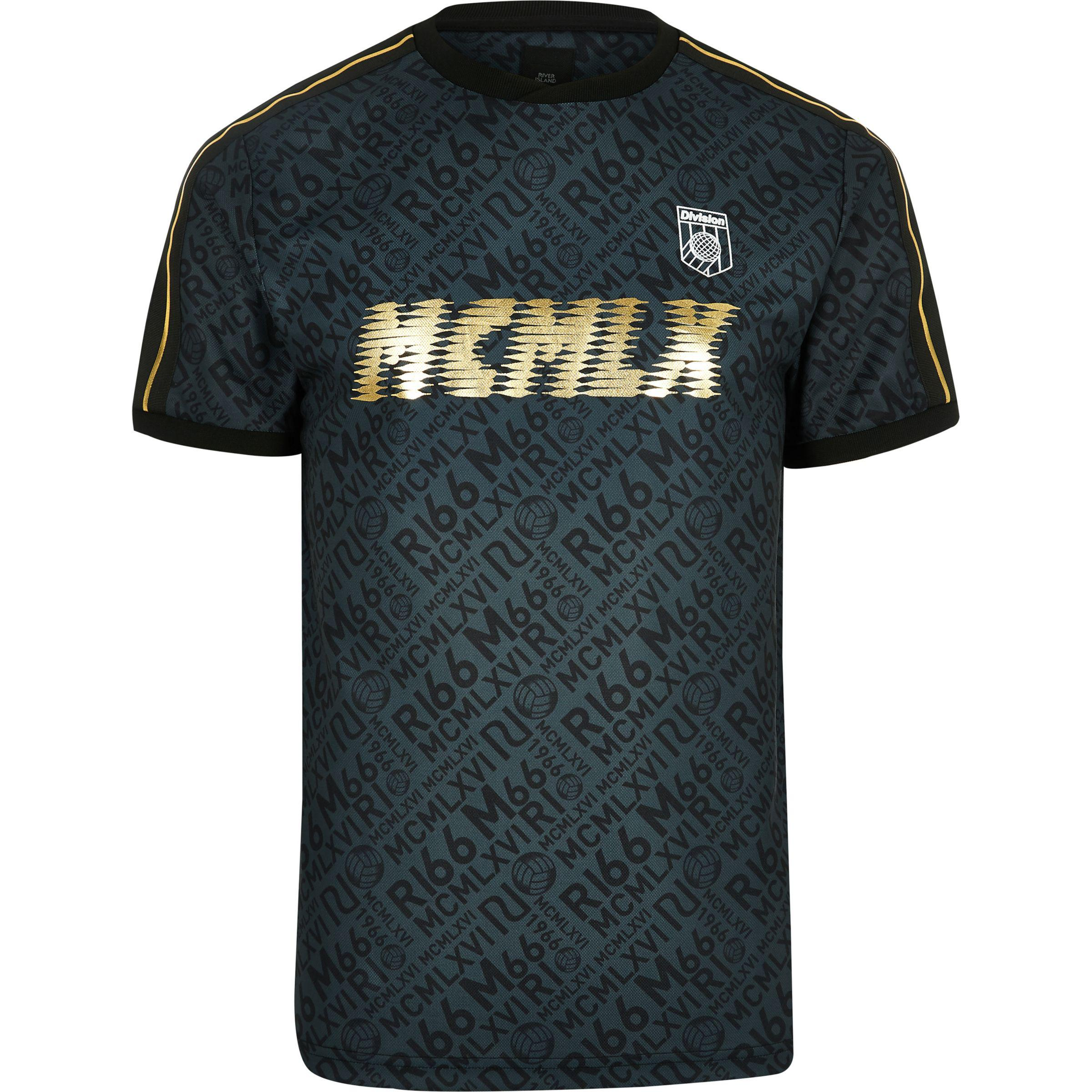 Mens Black MCMLX football style tape T-shirt River Island Free Shipping Classic Free Shipping Manchester Great Sale doNYvmG3ni