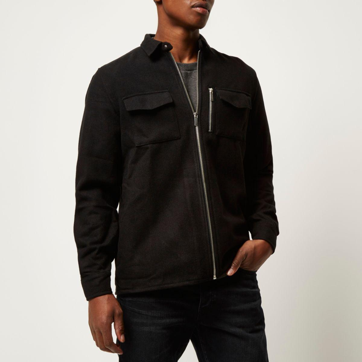 Lyst river island black zip front flannel shirt jacket for Zip front flannel shirt