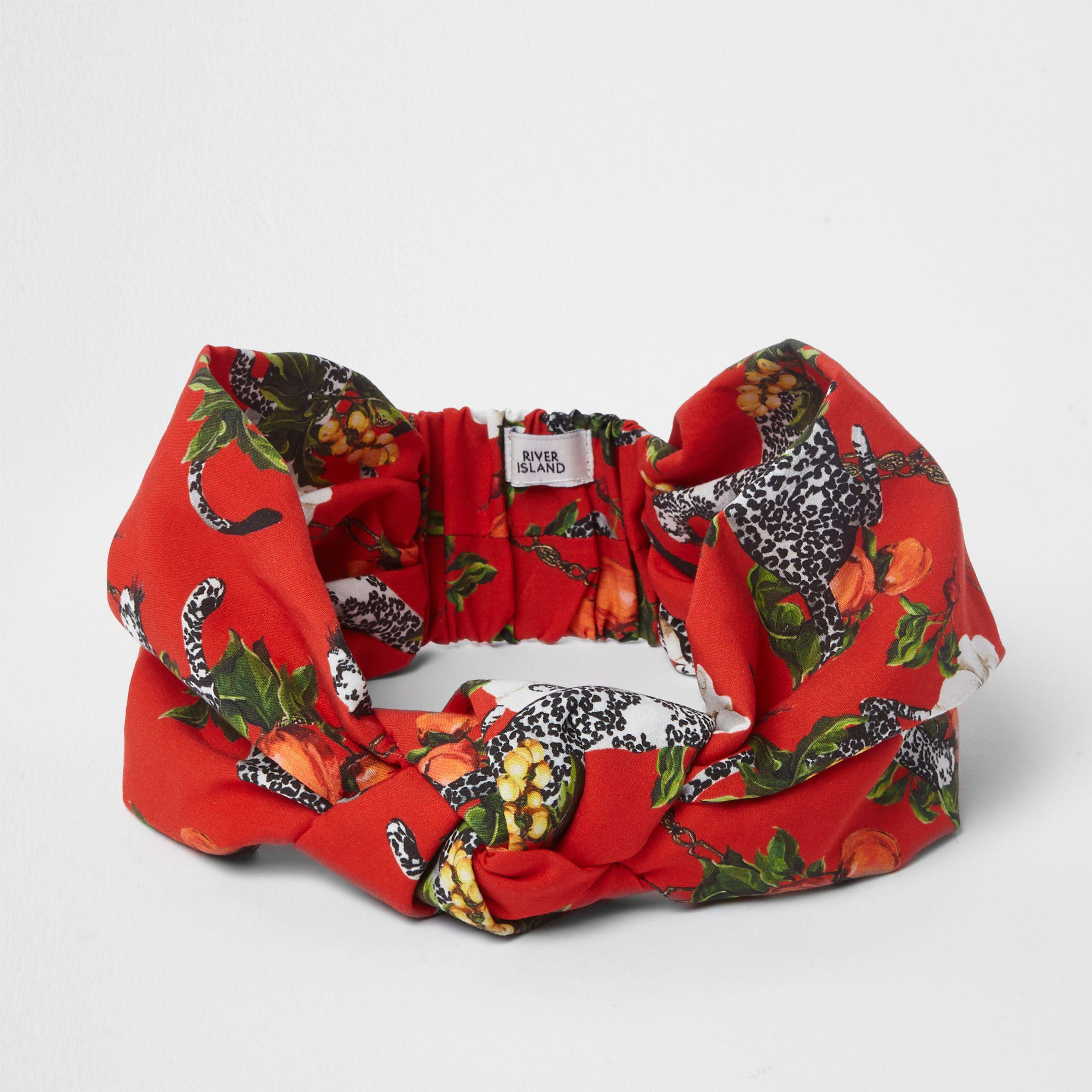 cf0f693d9714 River Island Red Cheetah Print Knot Front Headband in Red - Lyst