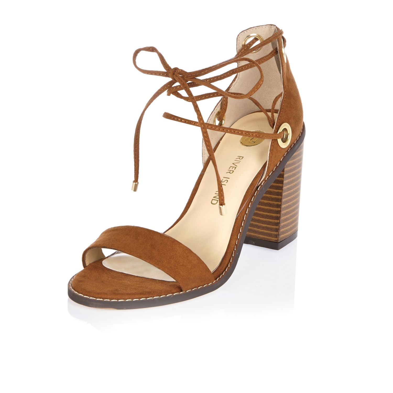 River Island Light Brown Tie Up Block Heel Sandals In