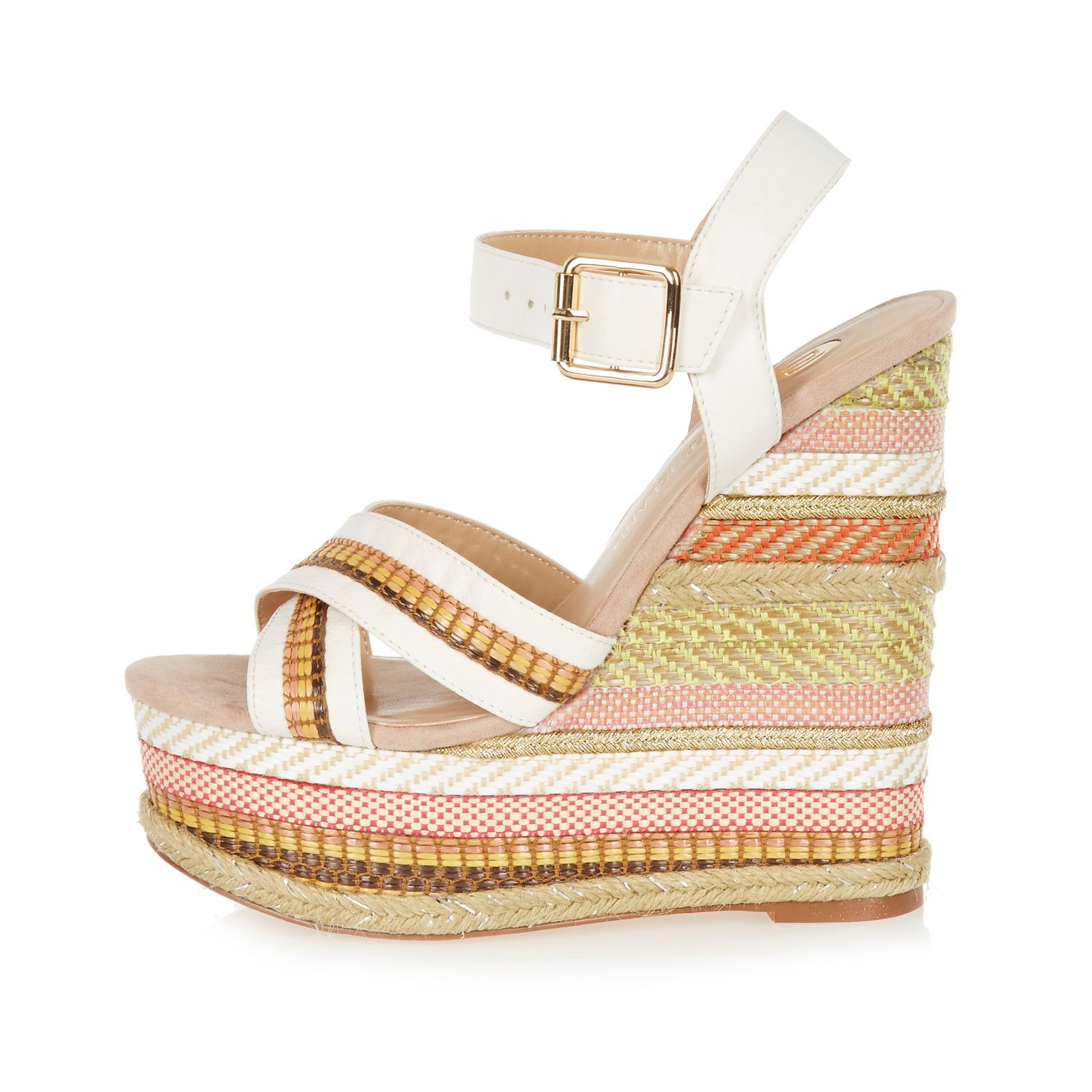 2bca0aca498 Lyst - River Island White Print Espadrille Wedges in White