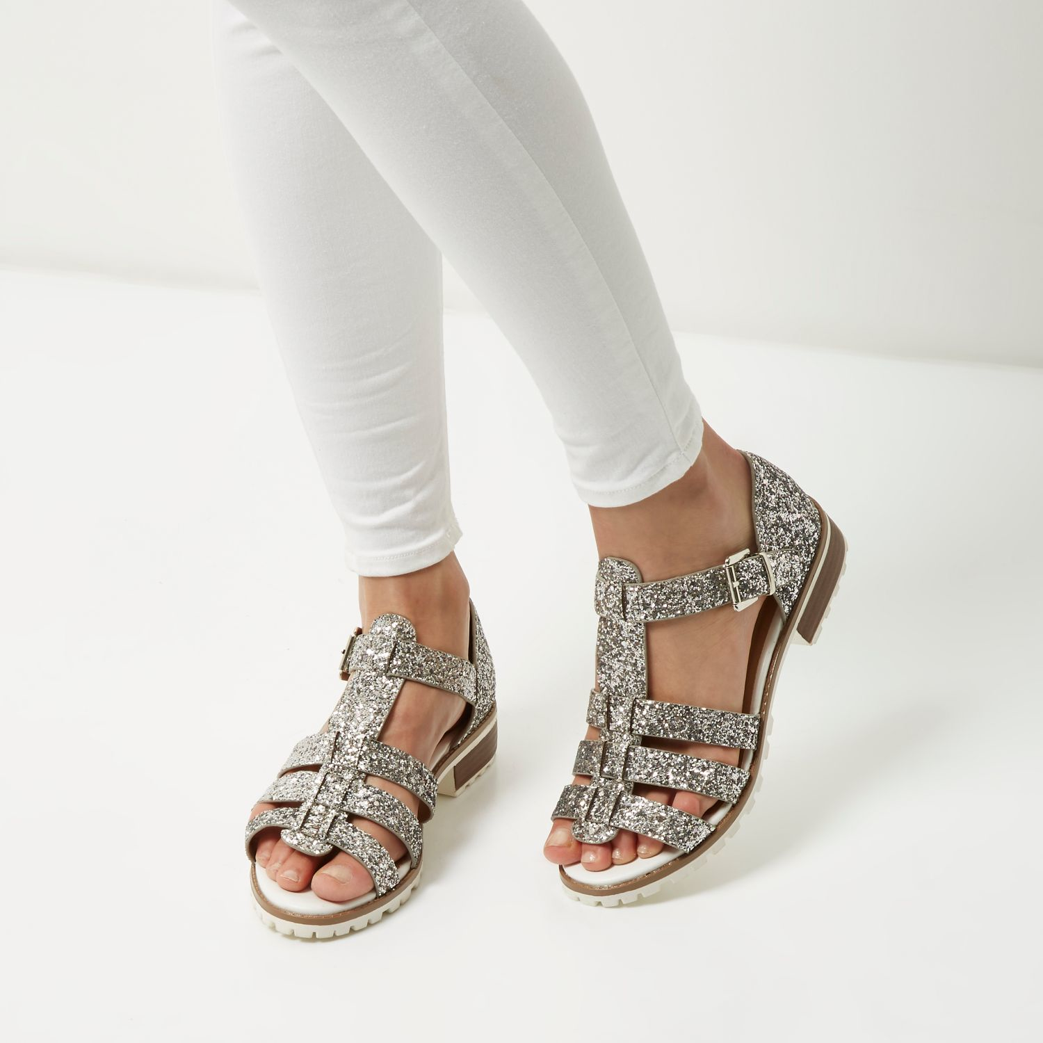 7ae9a47d574961 Lyst - River Island Silver Glitter Strappy Geek Sandals in Gray