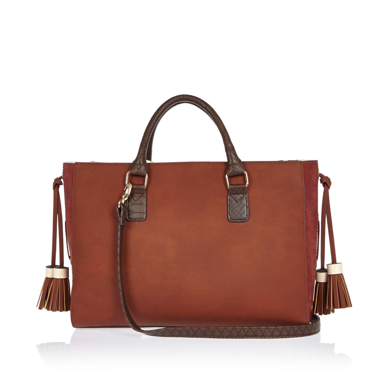 River Island Red Stripe Whipstitch Tote Handbag in Brown