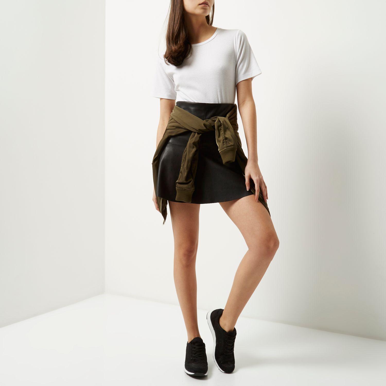 River Island Black Leather Look Flippy Skirt
