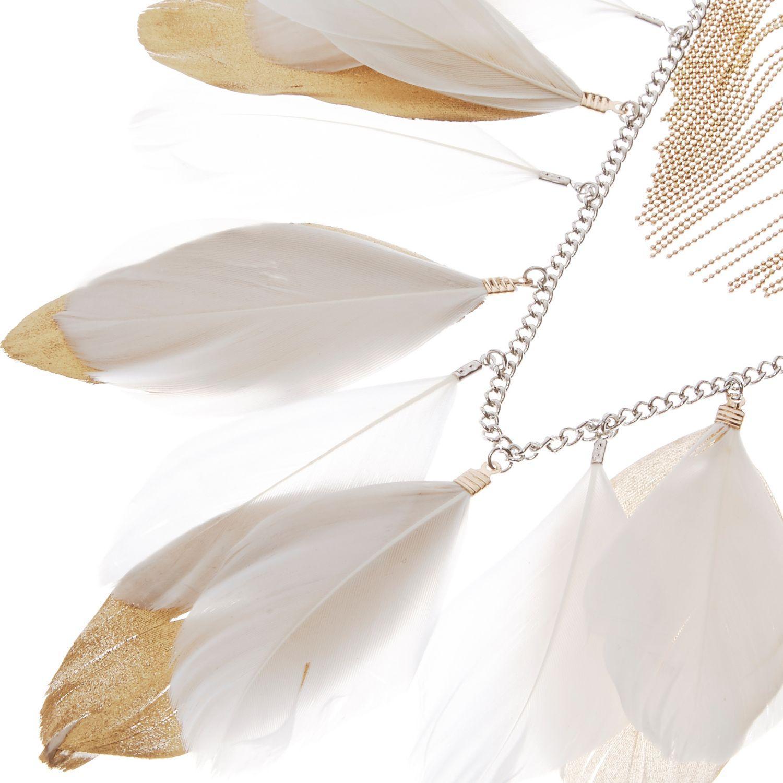 River Island White Feather Bib Necklace