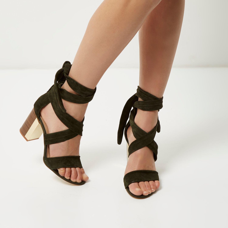 River Island Womens rhinestone caged block heel sandals 2gTjFq2L6