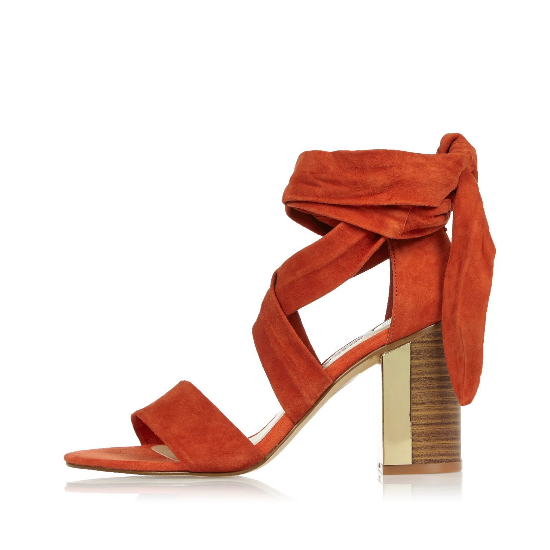 River Island Dark Orange Suede Tie Up Block Heel Sandals