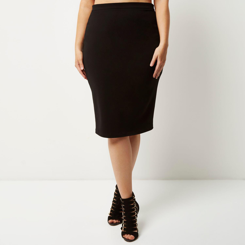 river island ri plus black pencil skirt in black lyst