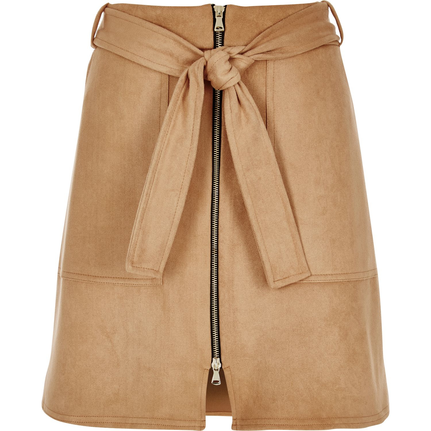 River island Tan Faux Suede Zip-up A-line Skirt | Lyst