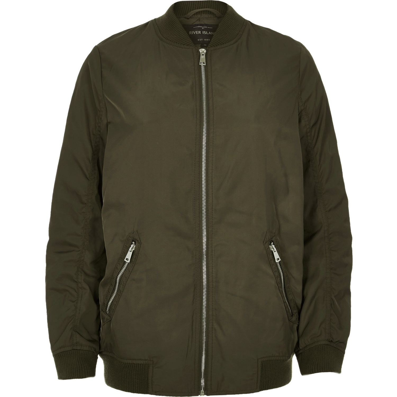 Lyst river island khaki longline bomber jacket in green for Bear river workwear shirts