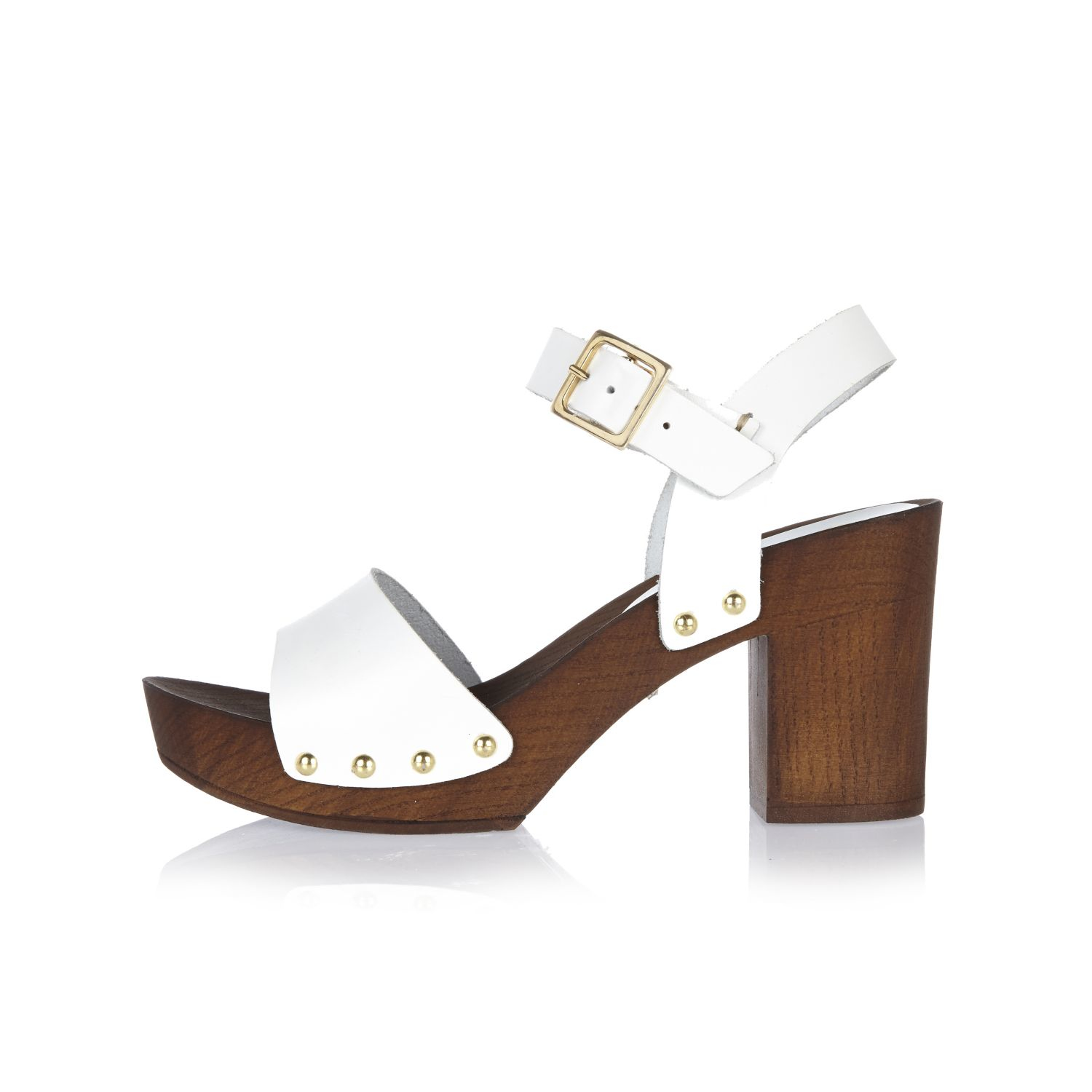 River Island White Leather Two Strap Clogs In Lyst