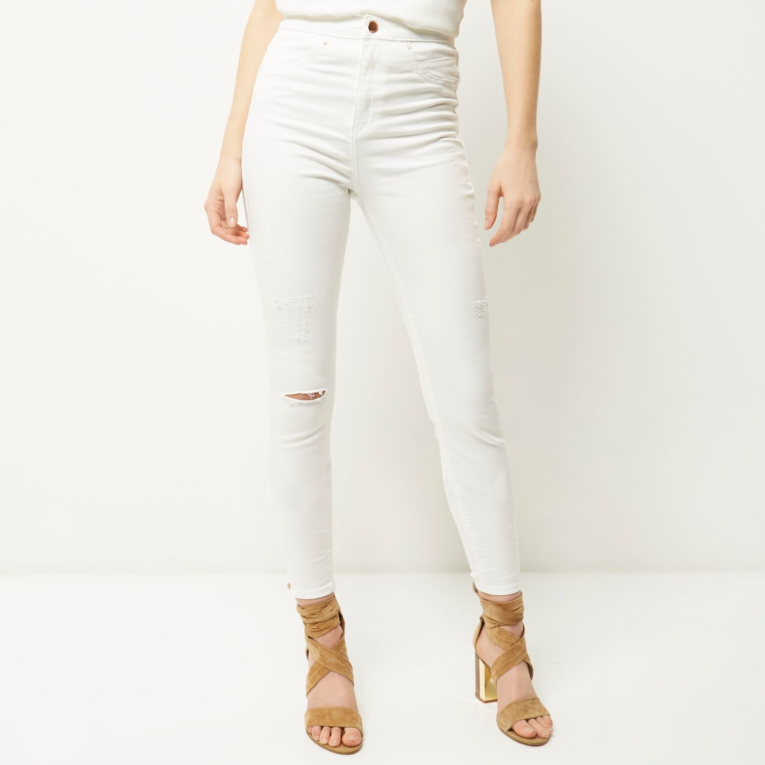 River Island White Molly Skinny Jeans In Black Lyst
