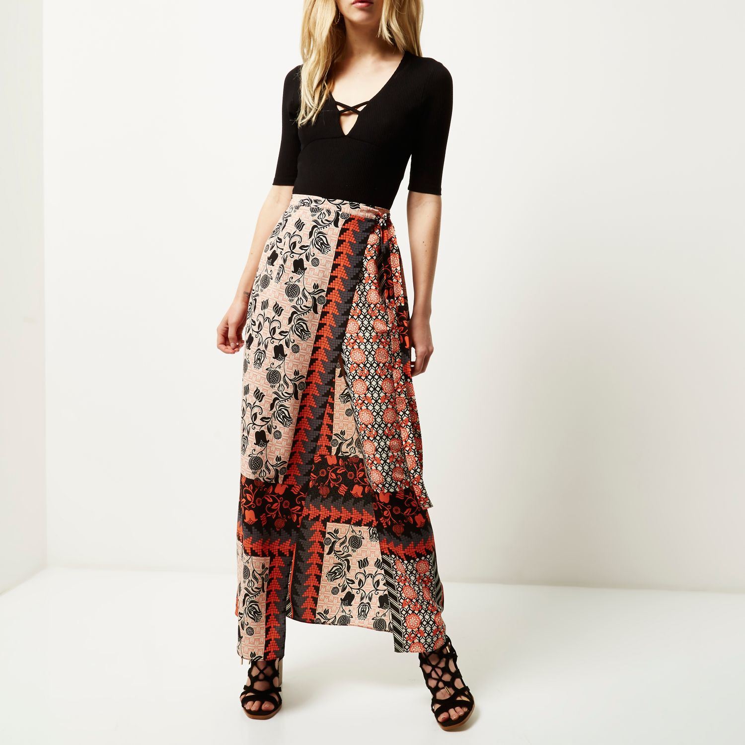 river island pink print festival maxi skirt in pink lyst