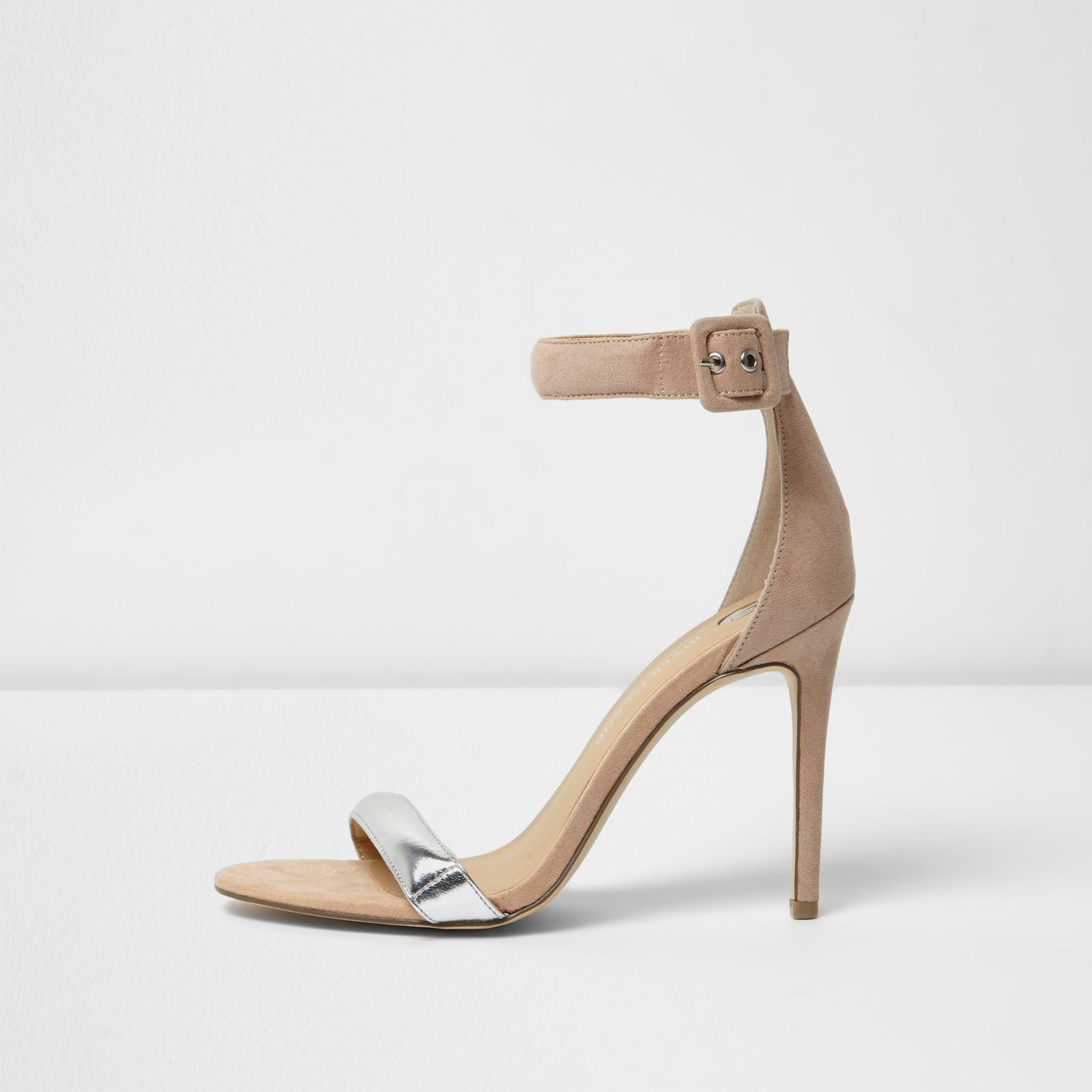 a80b2190ef48 Lyst - River Island Nude Silver Strap Barely There Heeled Sandals in ...