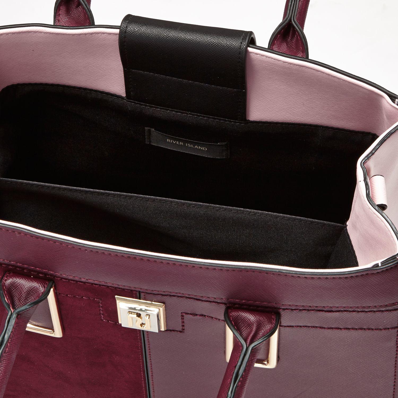 River Island Dark Red Boxy Panel Tote Handbag
