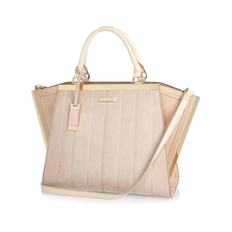 River Island Nude Winged Tote Handbag in Cream (Pink)