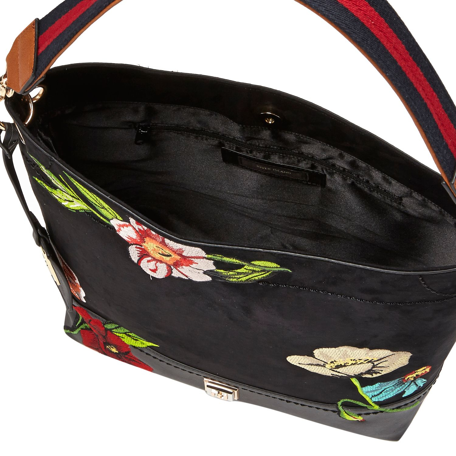 Lyst - River Island Black Floral Embroidered Slouch Bag In Black