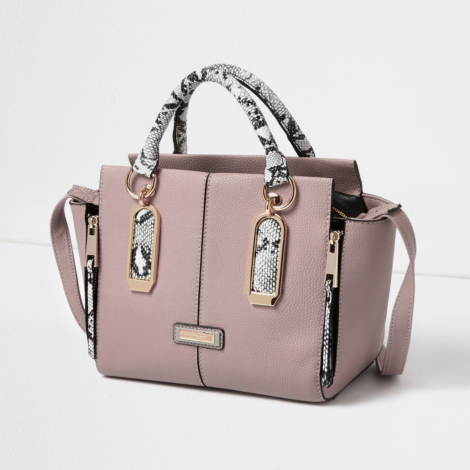 River Island Synthetic Pink Snake Print Winged Tote Bag
