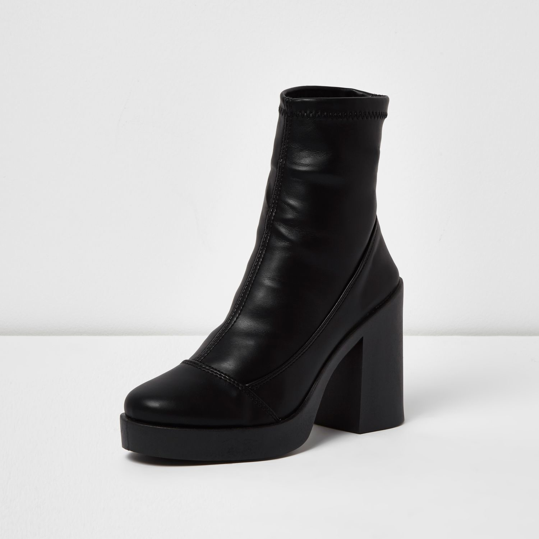River Island Leather Black Chunky Platform Sock Boots