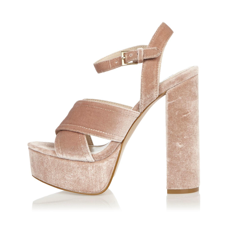 952818b4132 Lyst - River Island Pink Cross Strappy Platform Heels in Pink