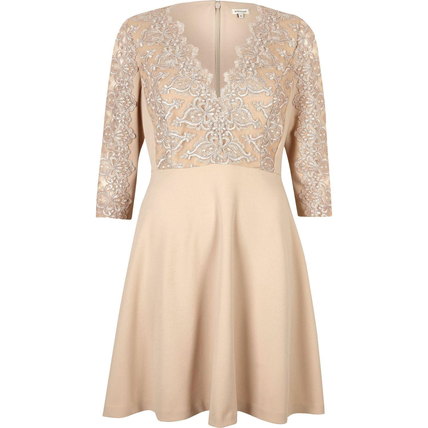 Dresses For Wedding Guest River Island : River island nude plunge lace skater dress in blue lyst