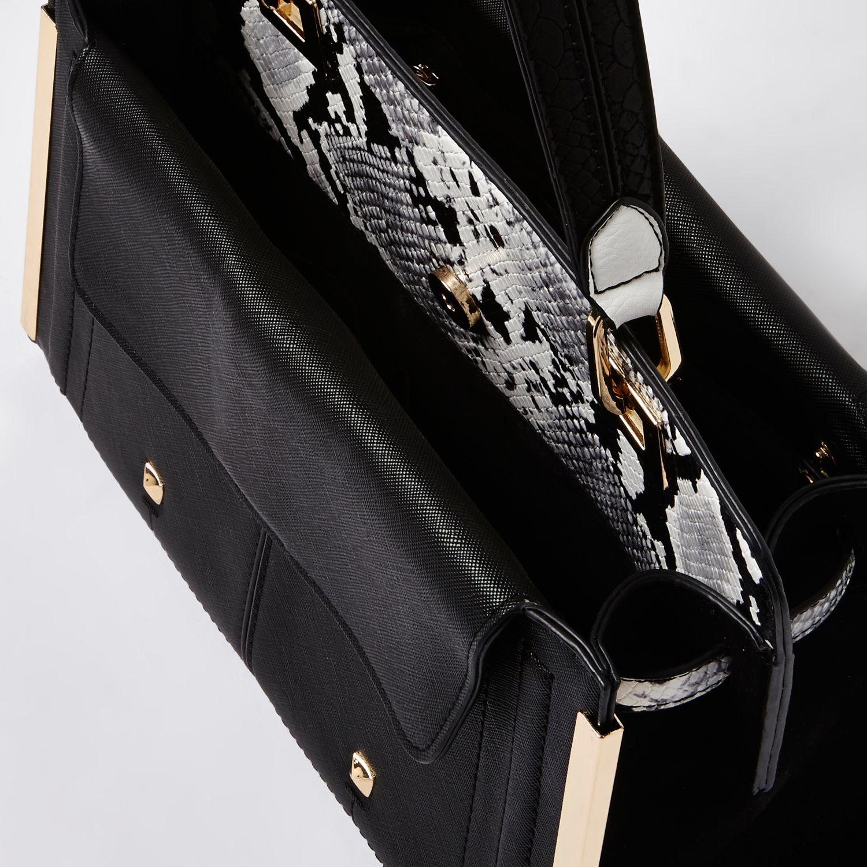 River Island Black Snake Print Small Boxy Handbag