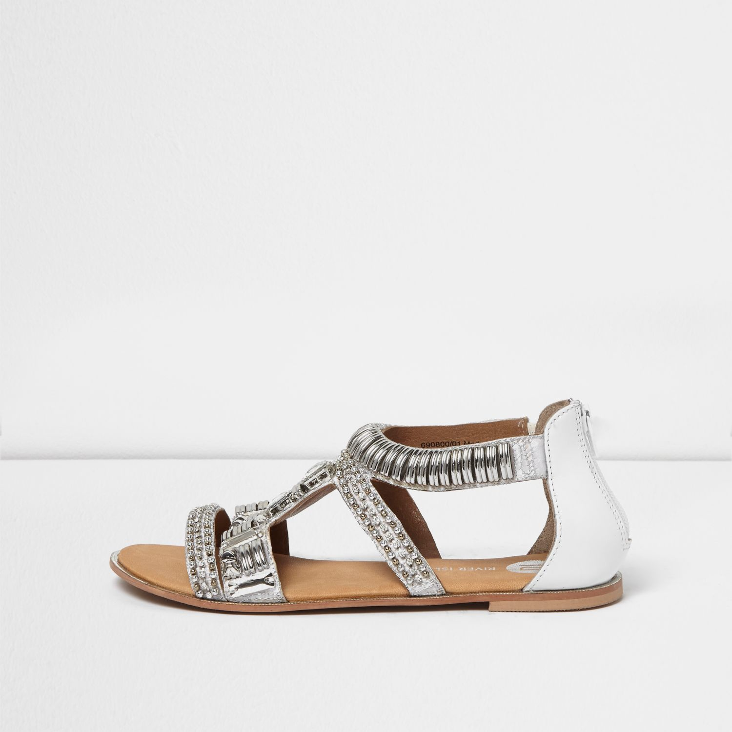 River Island Silver Embellished Sandal In Gray Lyst