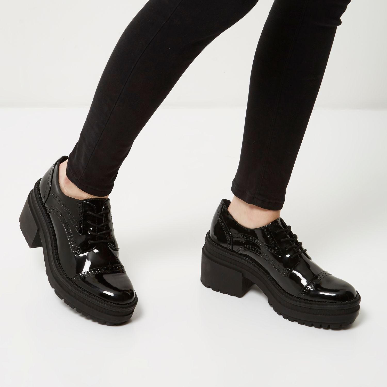 River Island Black Patent Chunky Heel Brogues Lyst