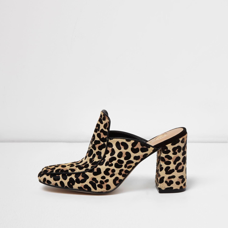 623feebe2898ff Lyst - River Island Leopard Print Closed Toe Block Heel Mules in Brown