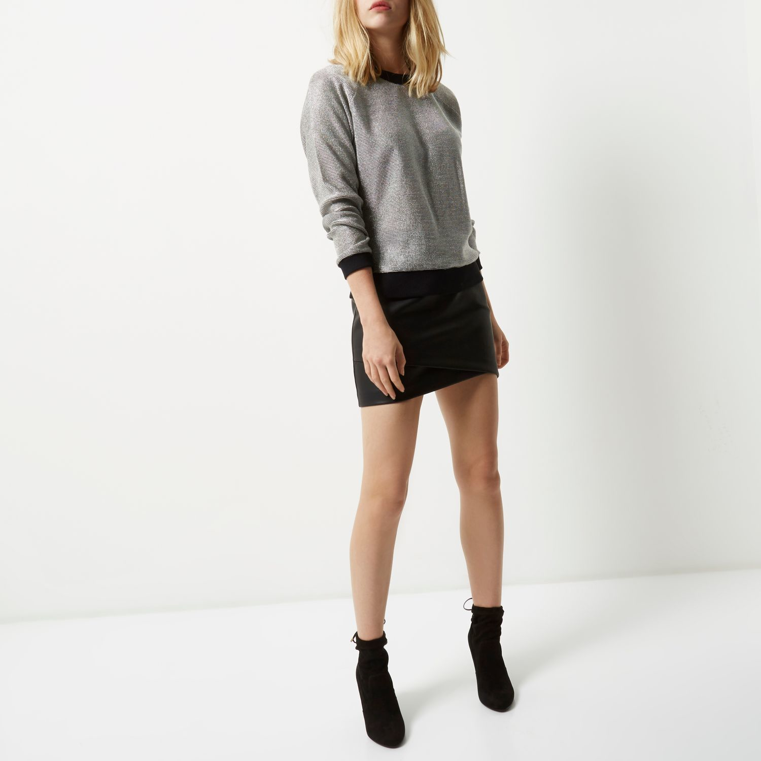 river island black leather look wrap mini skirt in black
