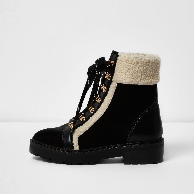 river island black fleece trim ankle boots in black lyst