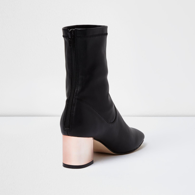 River Island Black Metallic Block Heel Ankle Boots