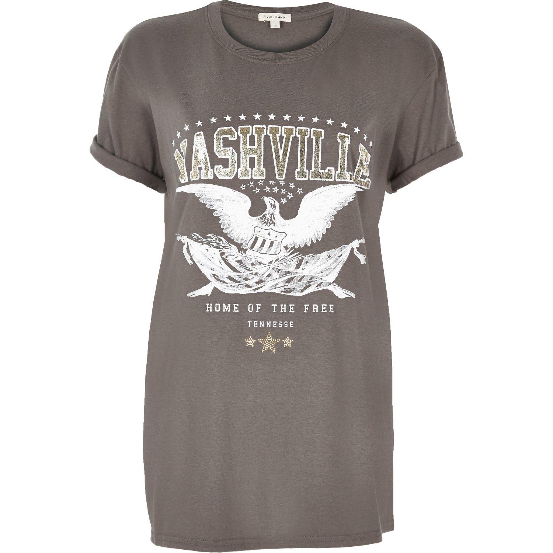 River island grey 39 nashville 39 print rock t shirt in gray for Nashville t shirt printing