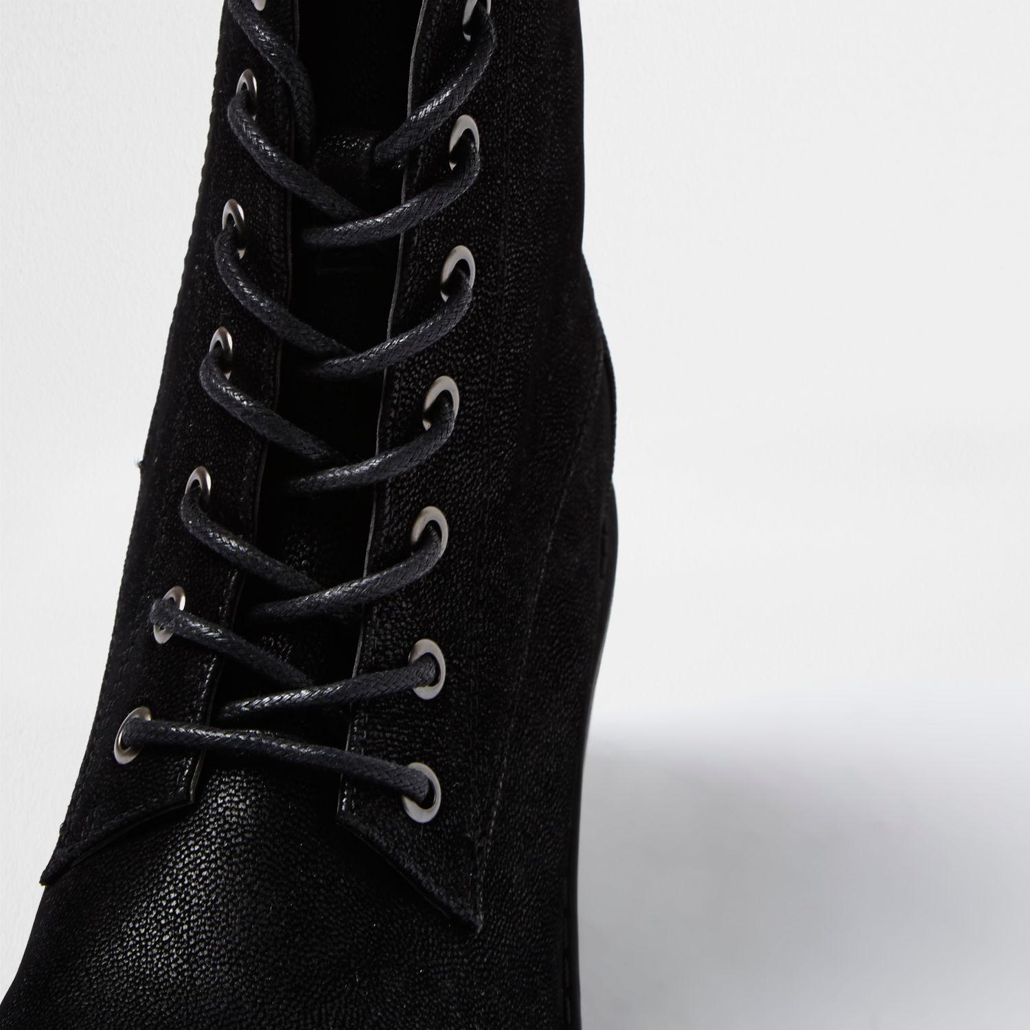 Black Quilted Riding Boots River Island
