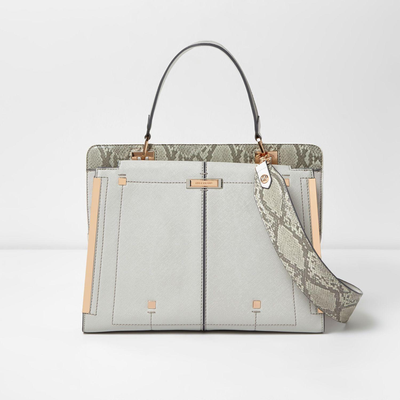 River Island Snake Print Large Handbag Tote Bag Shoulder Strap