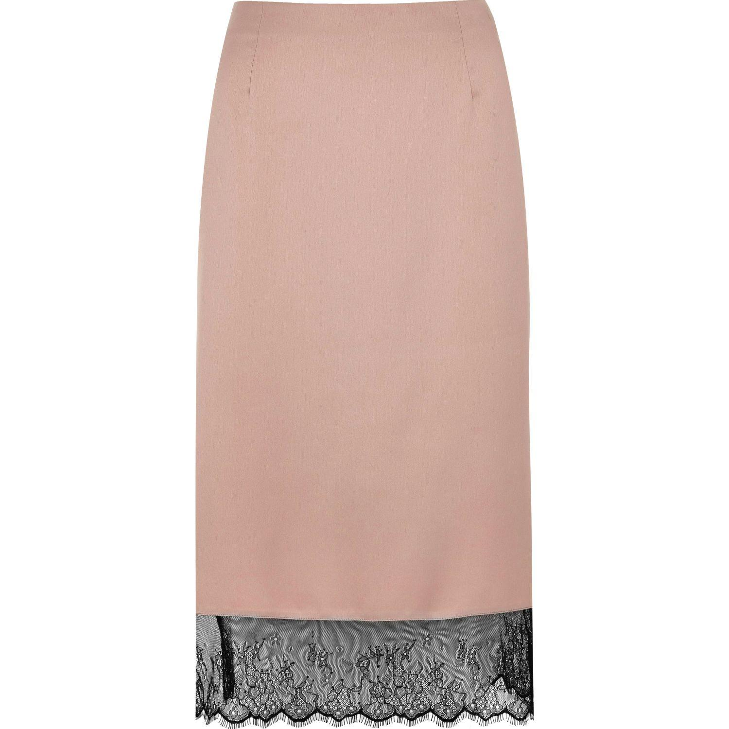 River Island Light Pink Lace Pencil Skirt