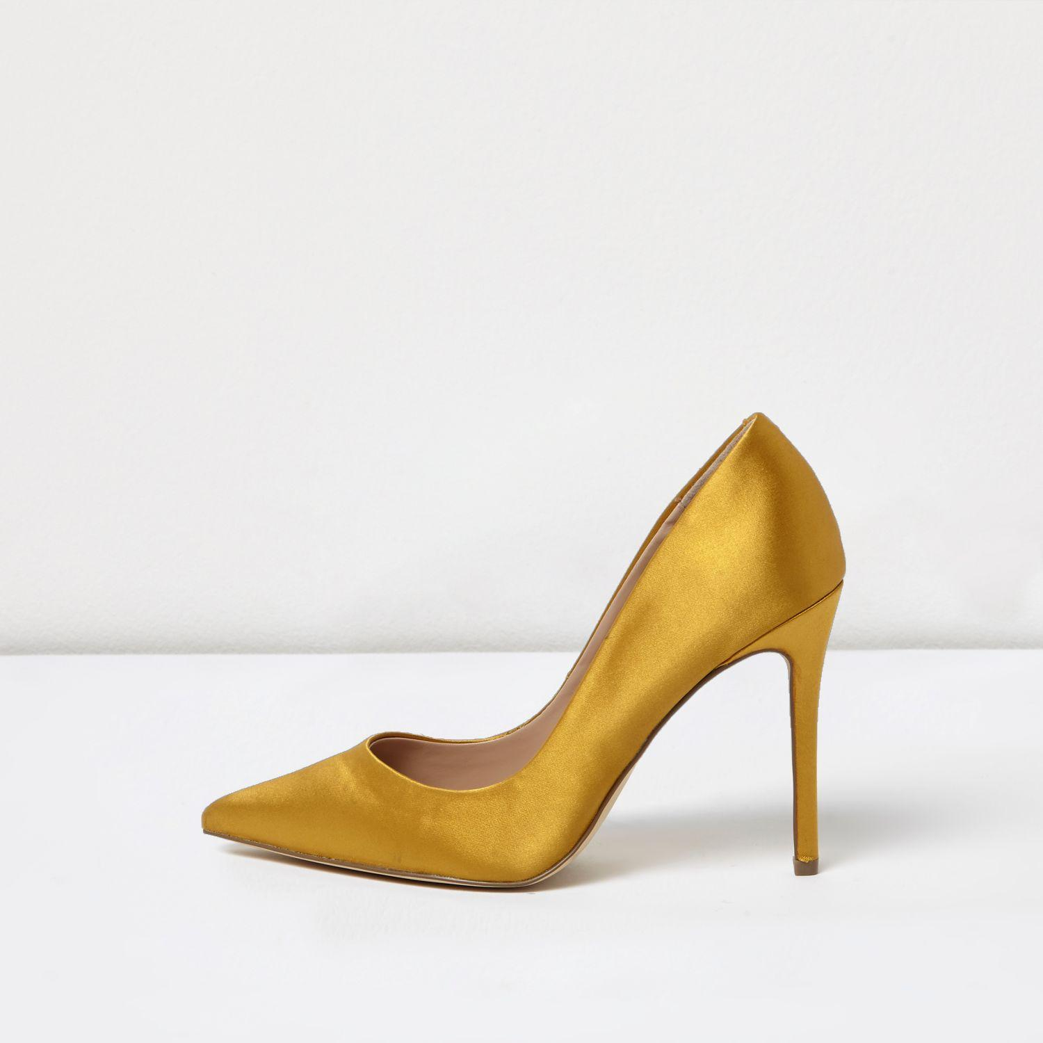 River island Gold Satin Court Shoes in Yellow   Lyst