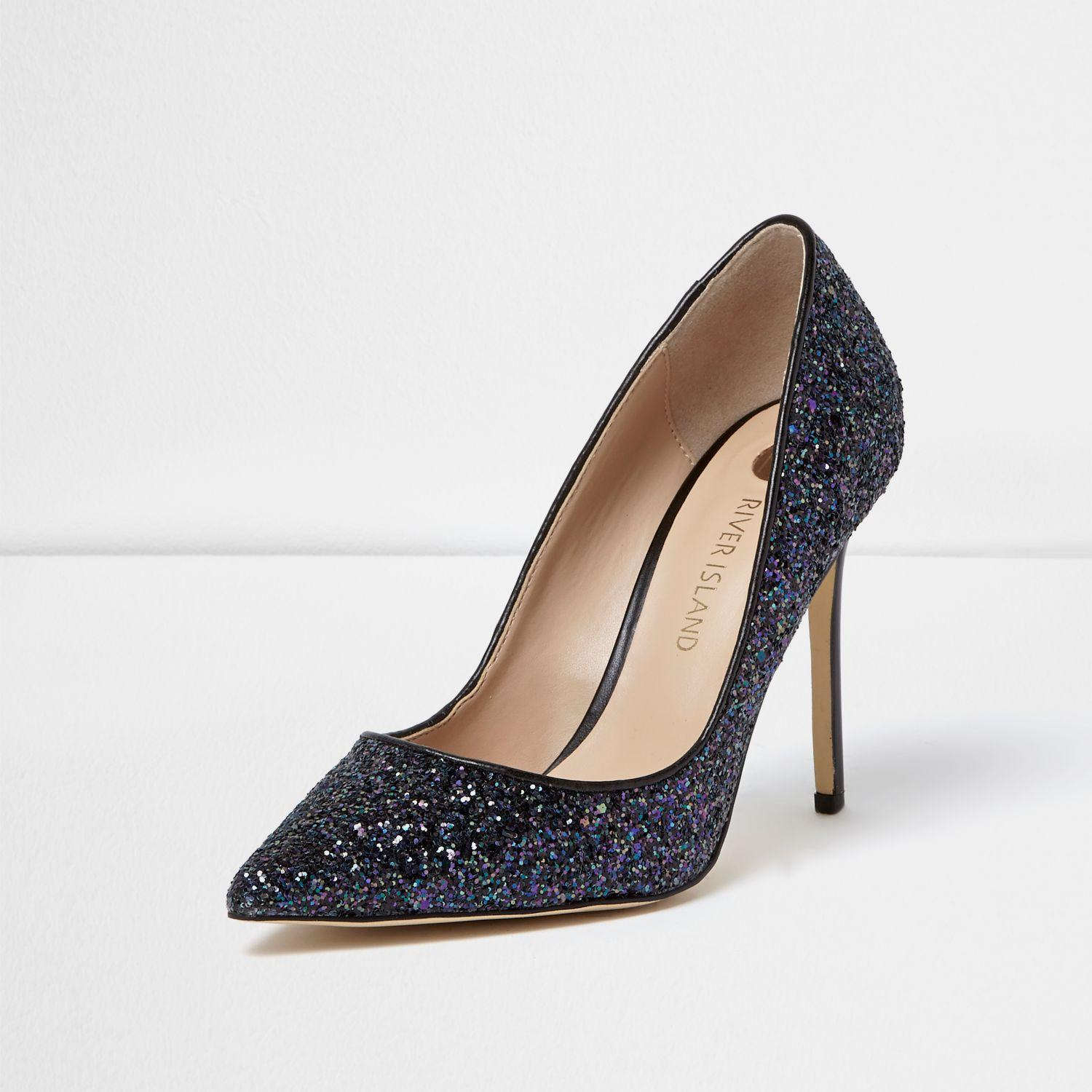 River Island Navy Glitter Court Shoes