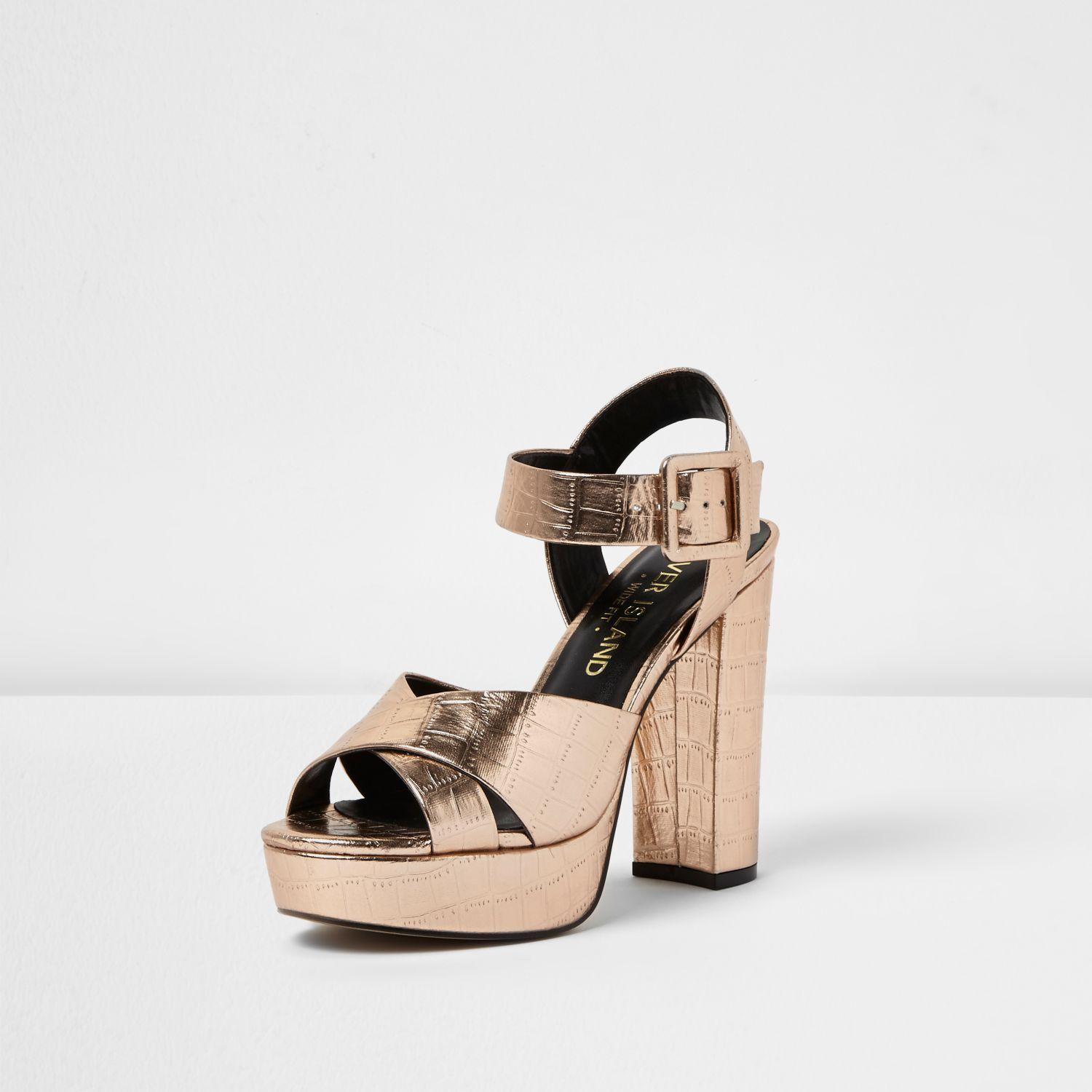 cac800b0dd71 Lyst - River Island Rose Gold Wide Fit Platform Heel Sandals in Yellow