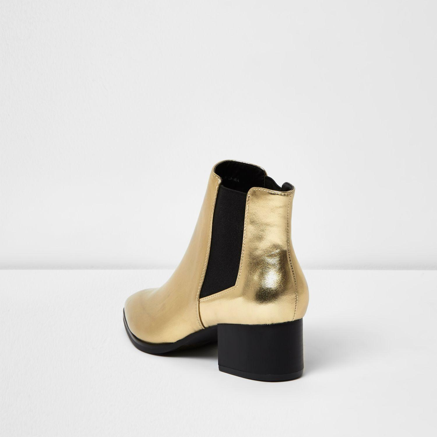 River Island Gold Block Heel Chelsea Boots in Metallic