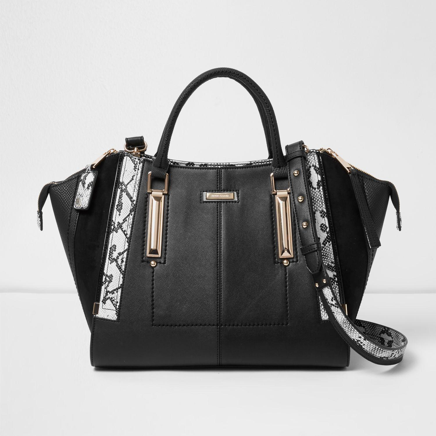 4713872ddb Lyst - River Island Black Dipped Top Winged Tote Bag in Black