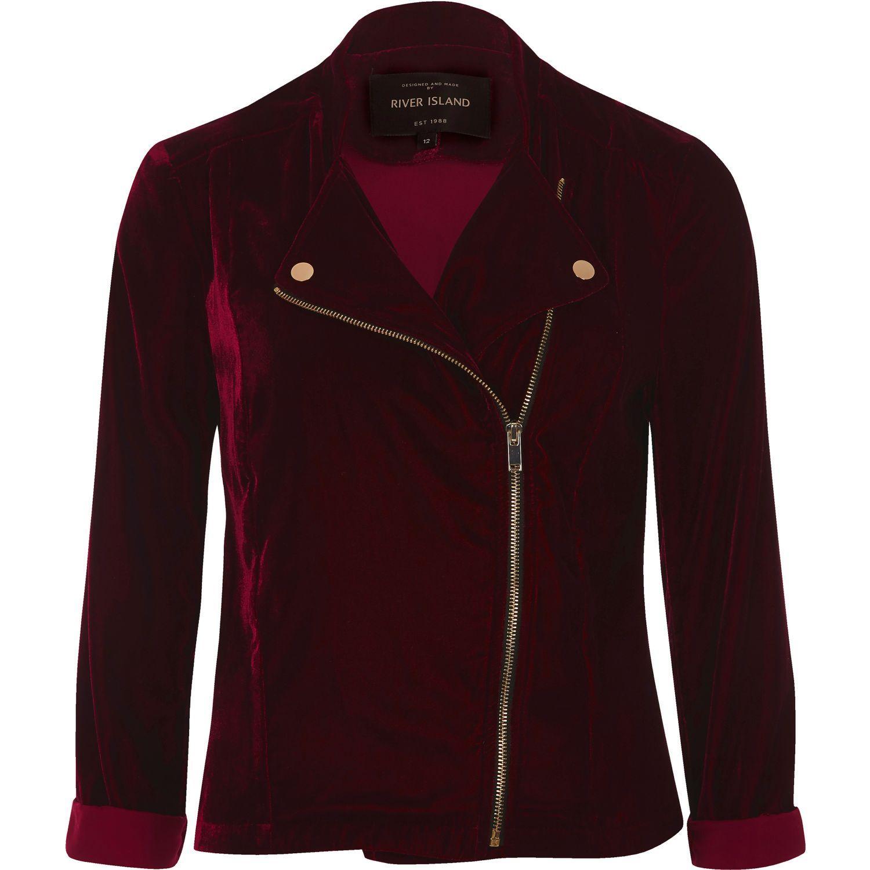 37caf079d5 River Island Dark Red Velvet Biker Jacket in Red - Lyst