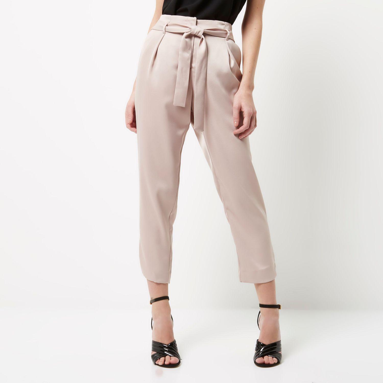 Womens Plus Pink tie waist tapered trousers River Island aleGJ